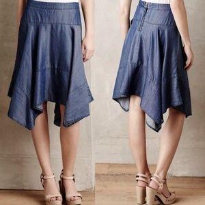 HD in Paris Handkerchief Hem Chambray Denim Skirt